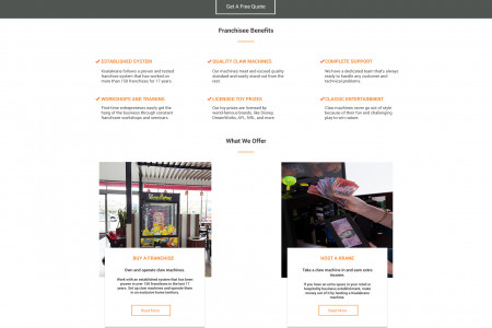 Homepage Design for Claw Machine Company Infographic