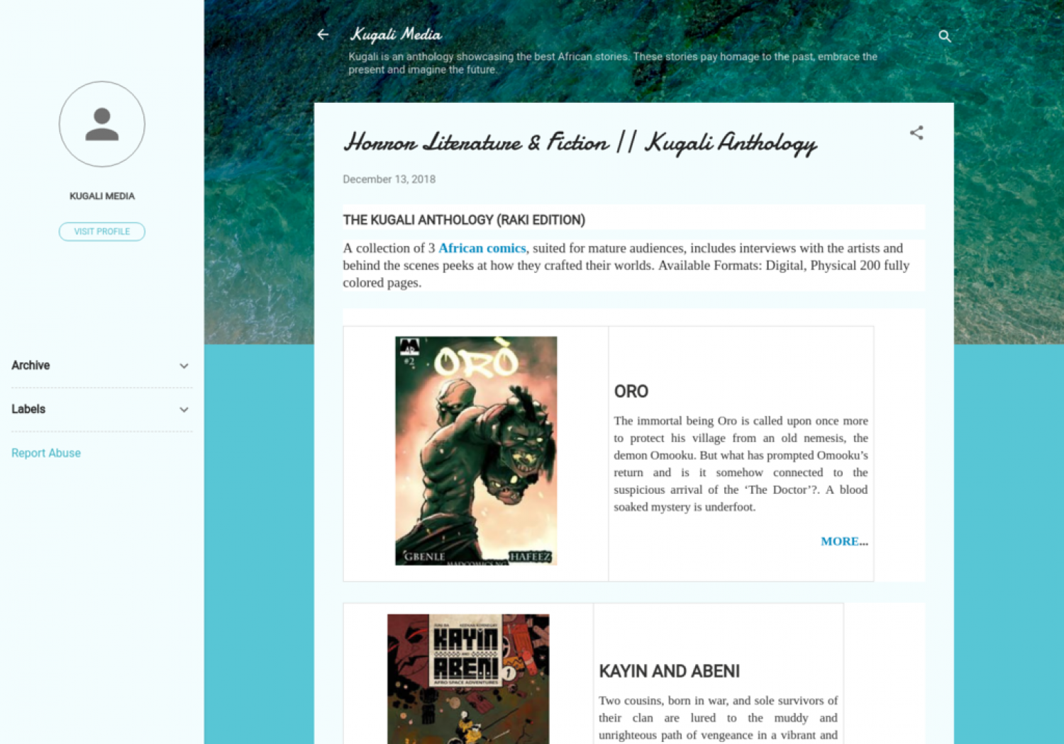 Horror Literature & Fiction || Kugali Anthology Infographic