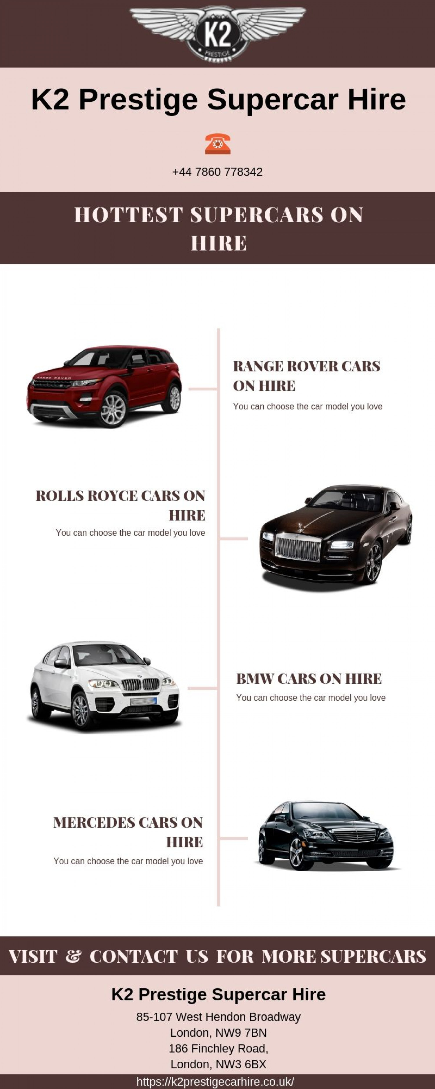 Hottest Supercars on Hire from K2 Prestige in London Infographic