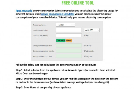 Household Electricity Consumption Calculator Infographic