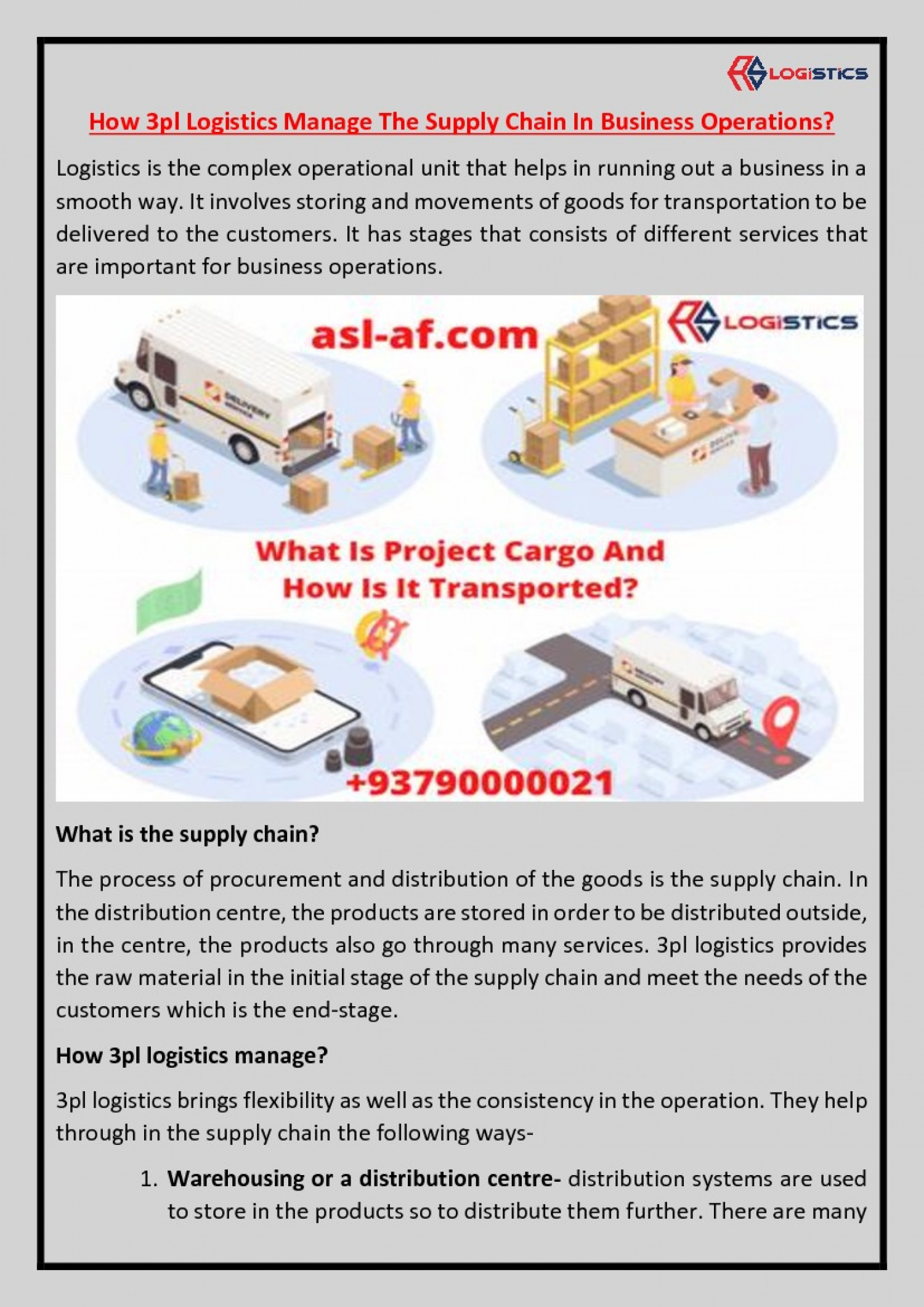 How 3pl Logistics Manage The Supply Chain In Business Operations? Infographic