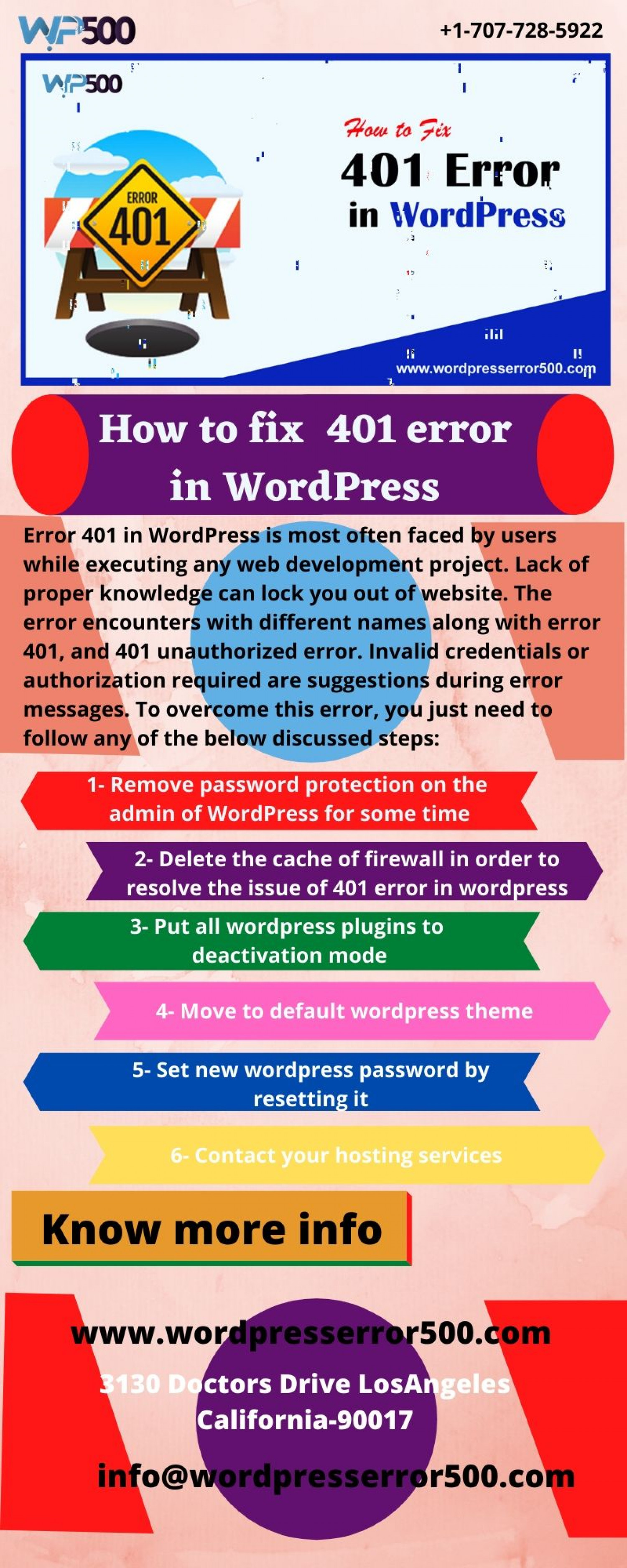 How can I fix the 401 error in WordPress  Infographic