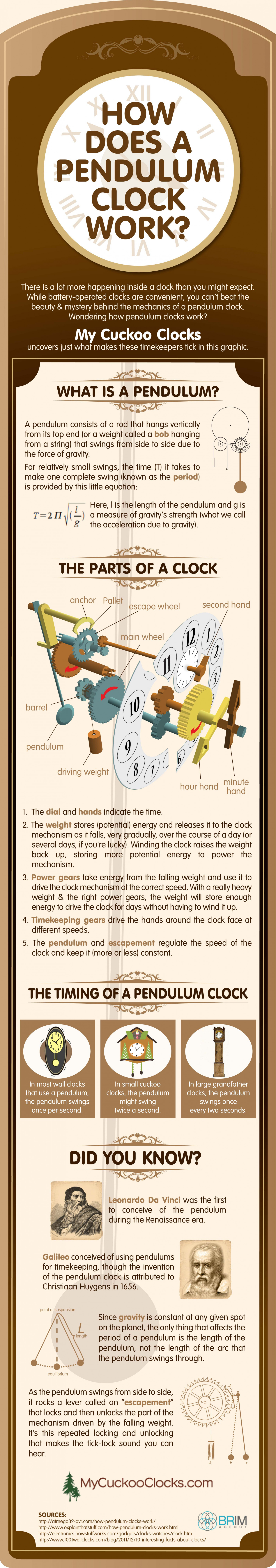 How Does a Pendulum Clock Work? Infographic