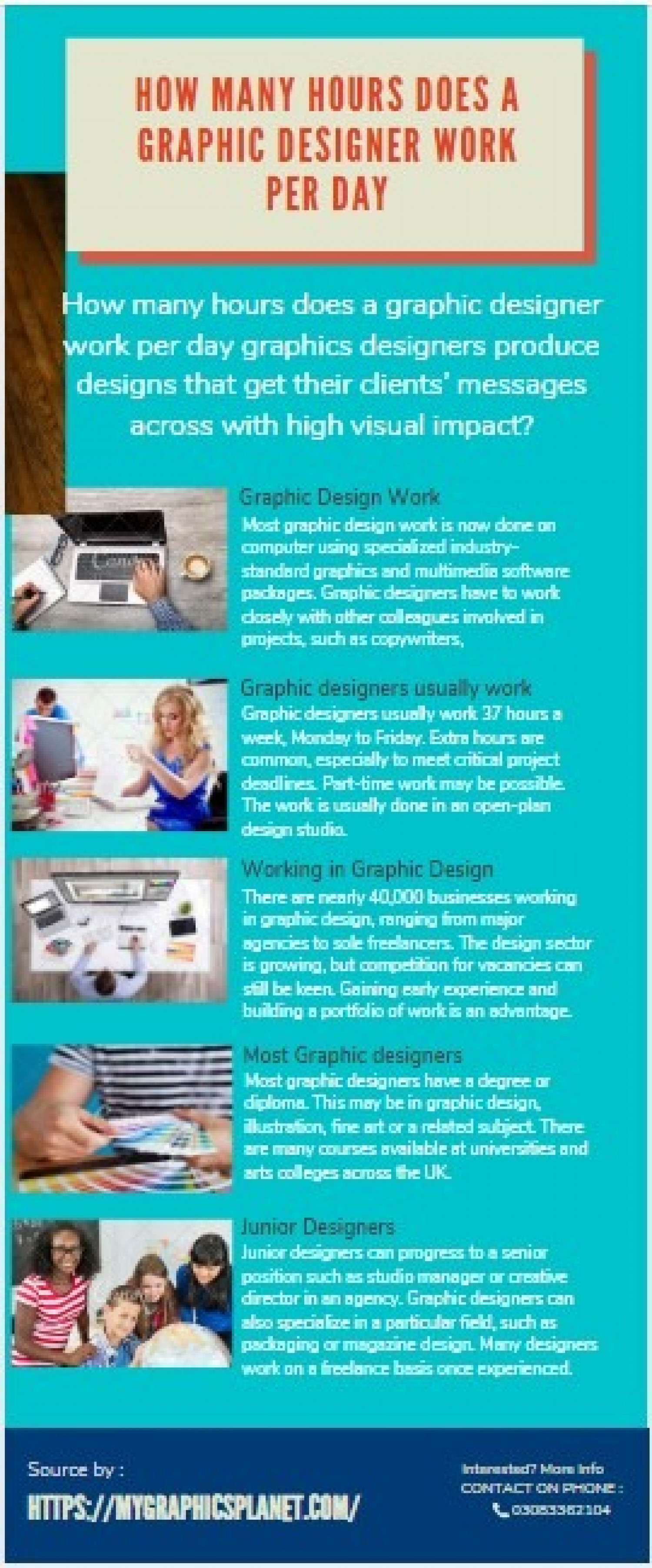 How many hours does a graphic designer work per day Infographic