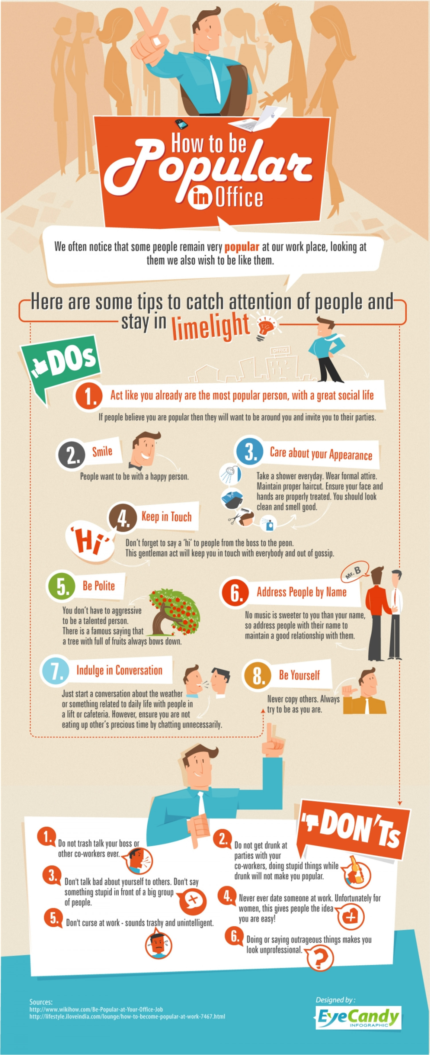 How to be Popular in Office Infographic