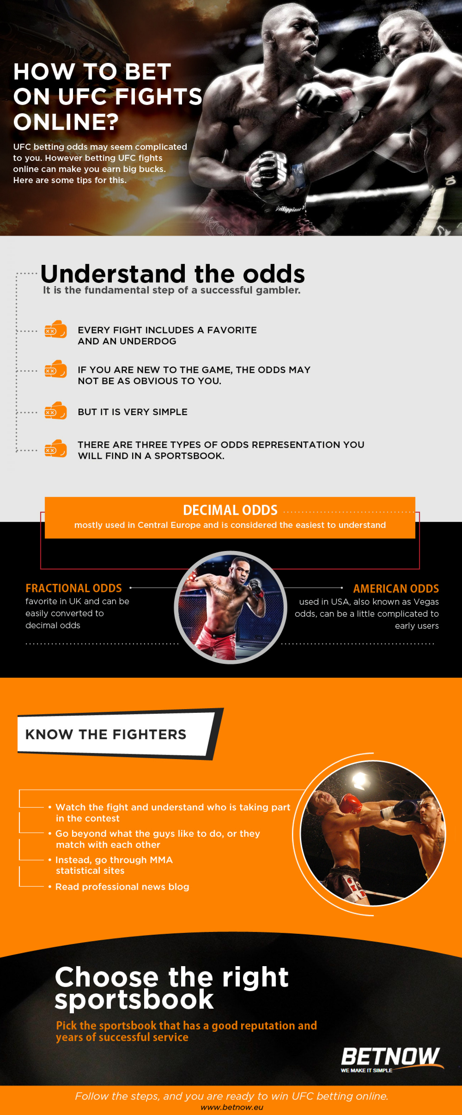 How to bet on UFC fights online Infographic