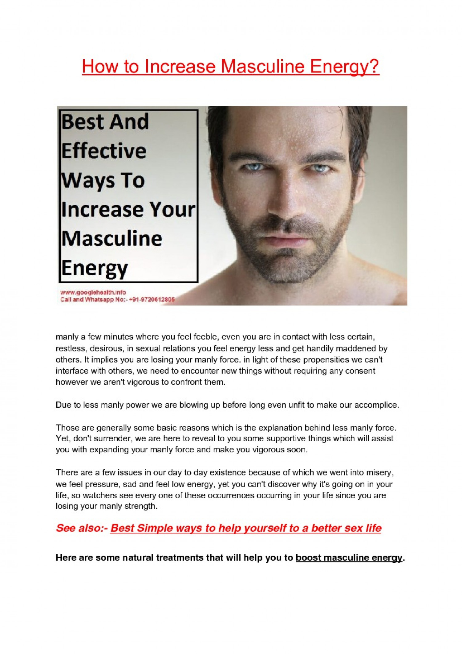 How to boost masculine energy  Infographic