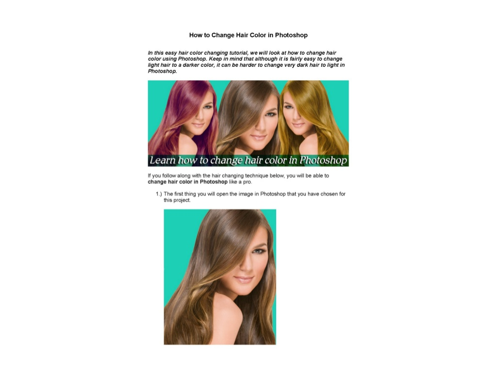 How To Change Hair Color In Photoshop Visual