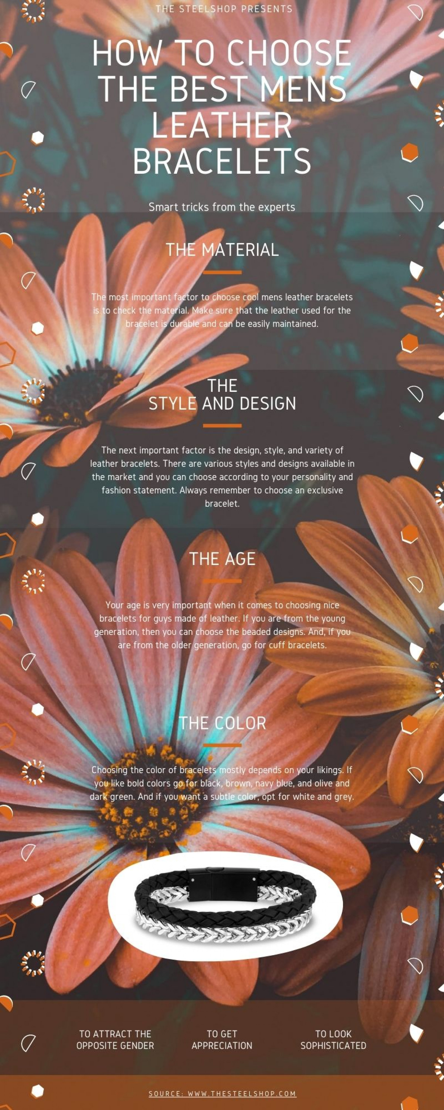 How to choose the Best Men's Leather Bracelets? Infographic