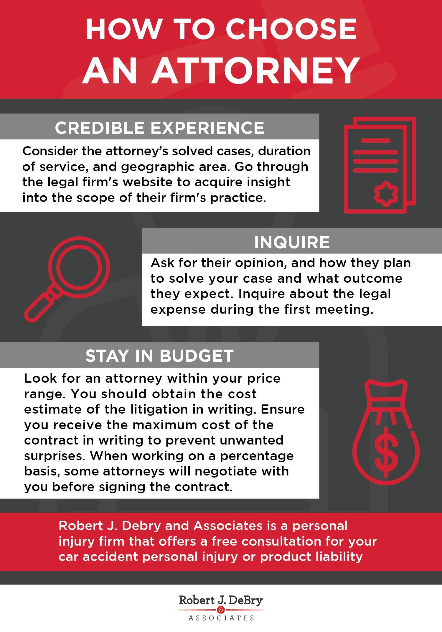 How to Choose Your Personal Injury Attorney Infographic