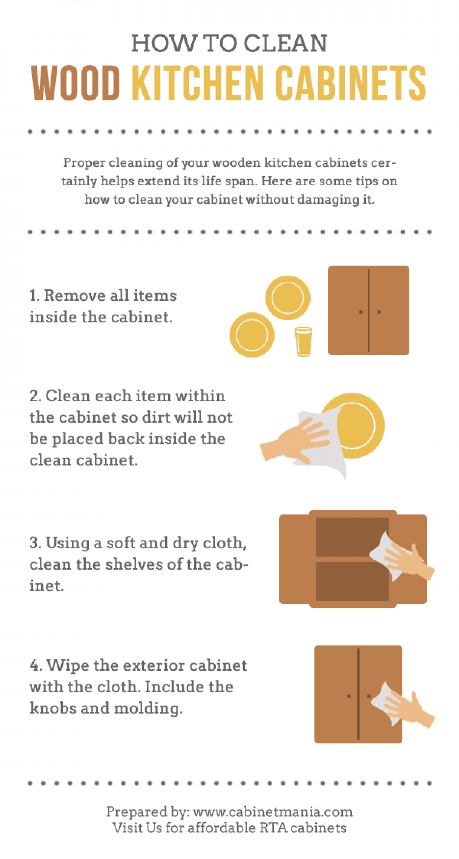 How To Clean Wood Kitchen Cabinets [Infographic] Infographic