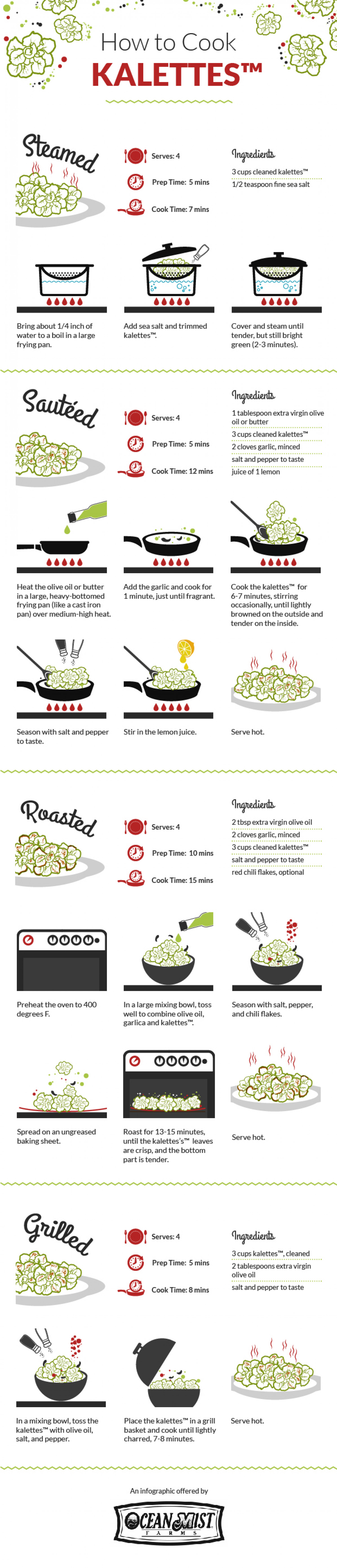How to Cook Kalettes by Ocean Mist Farms Infographic