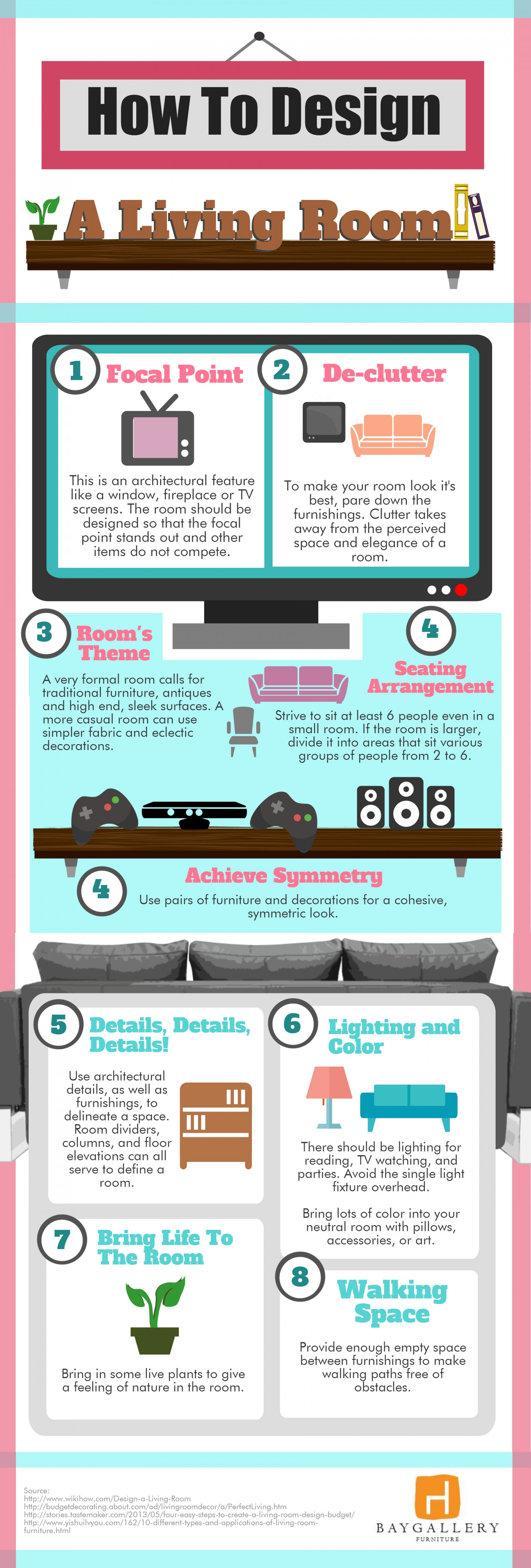 How to Design a Living Room Infographic
