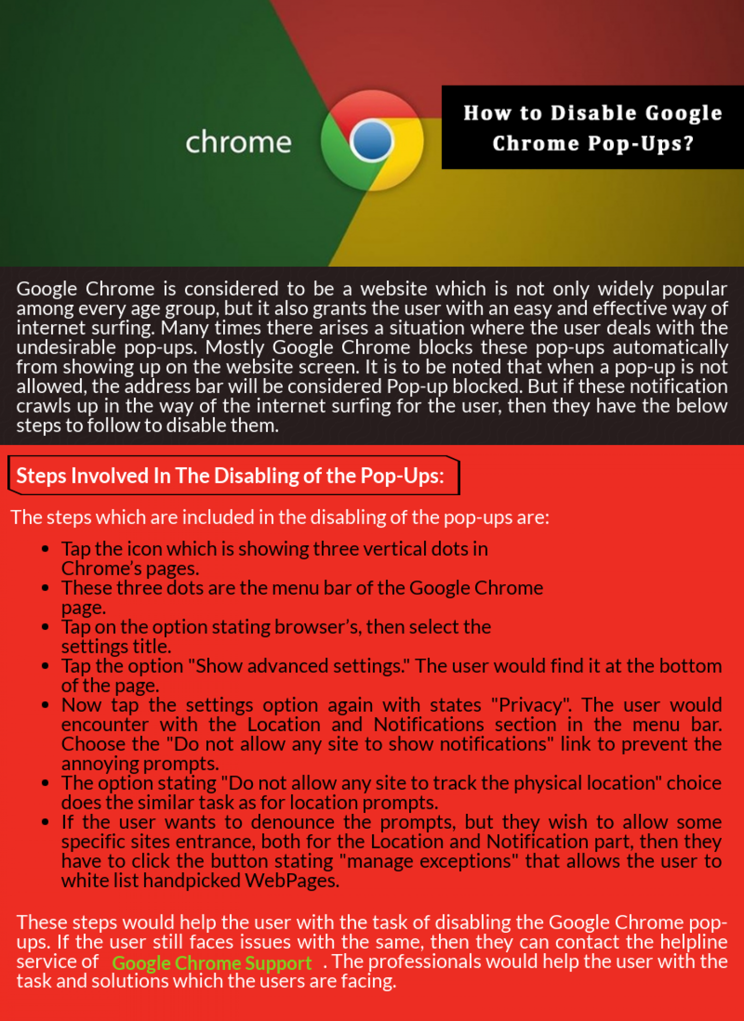 How to Disable Google Chrome Pop-Ups? Infographic