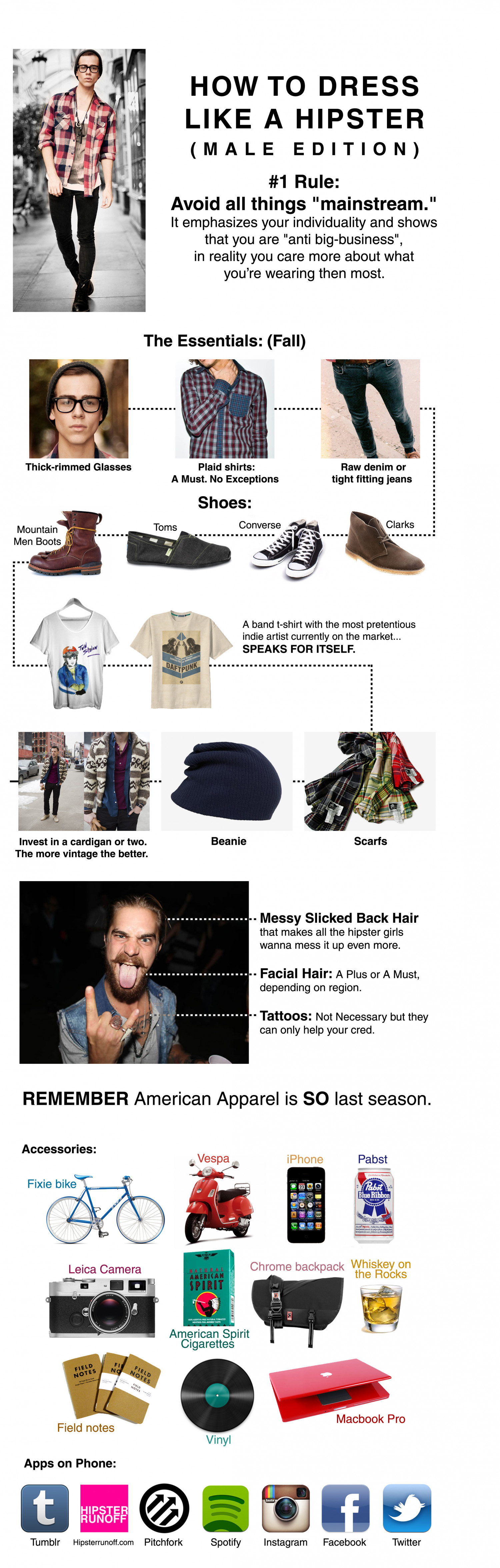 How to Dress Like a Hipster Infographic