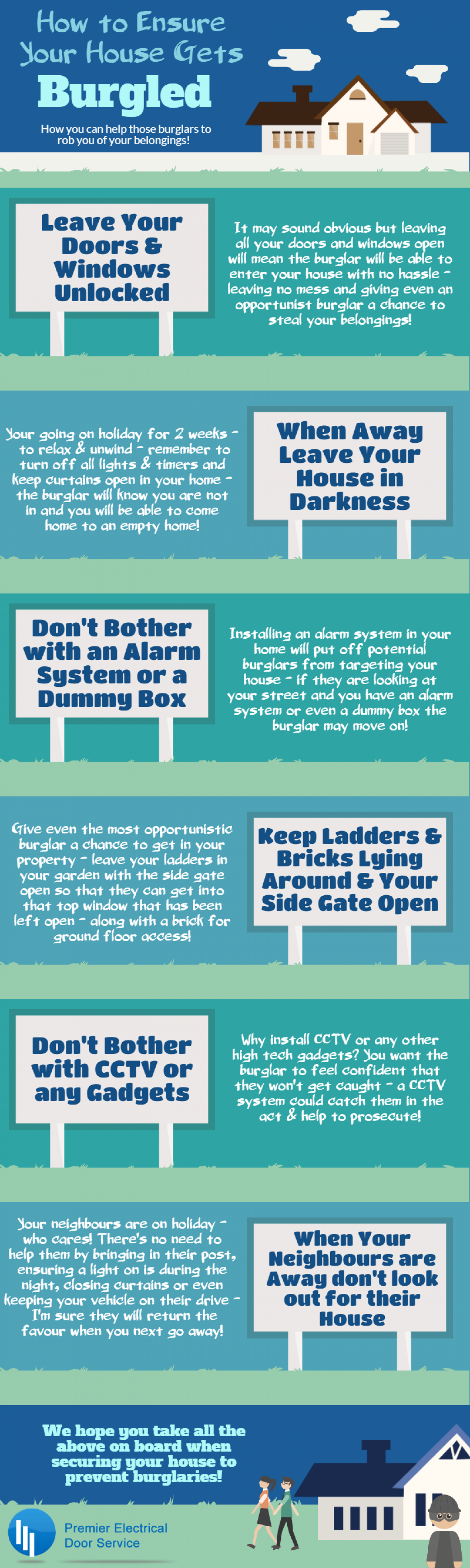 How To Ensure Your House Gets Burgled Infographic