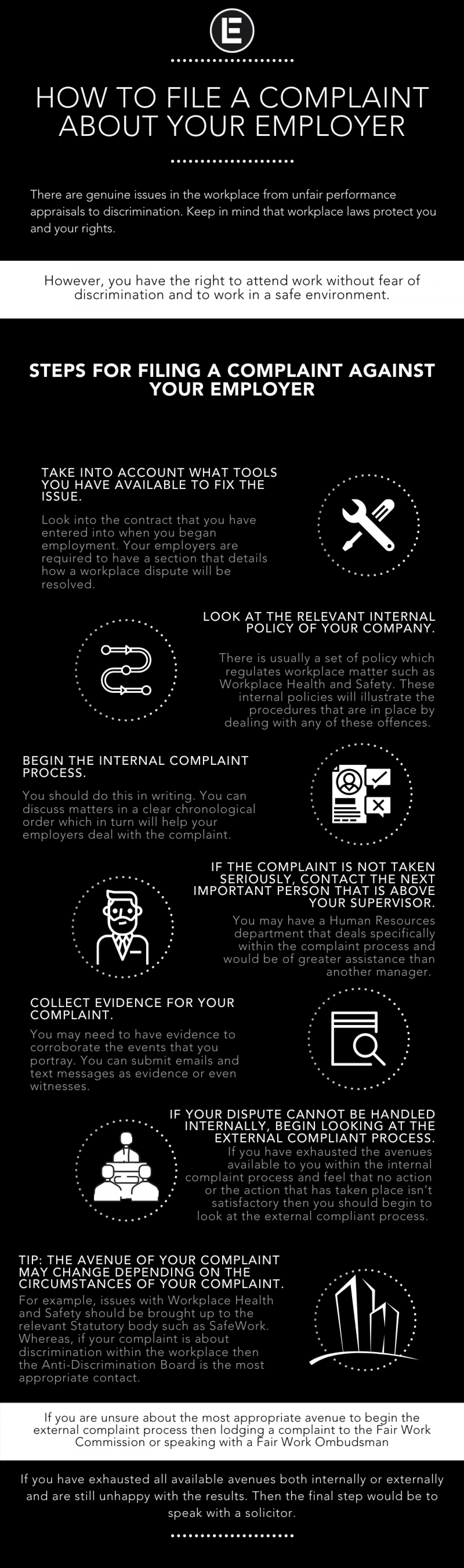 How to File a Complaint About Your Employer Infographic