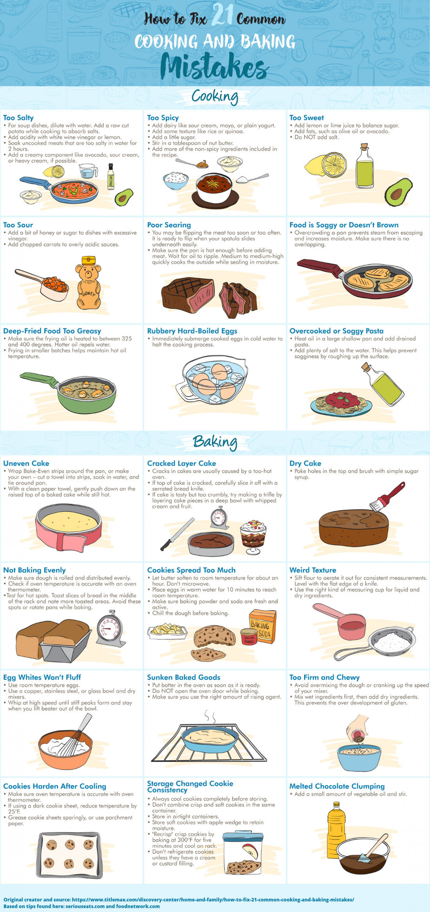 How to Fix 21 Common Cooking and Baking Mistakes Infographic