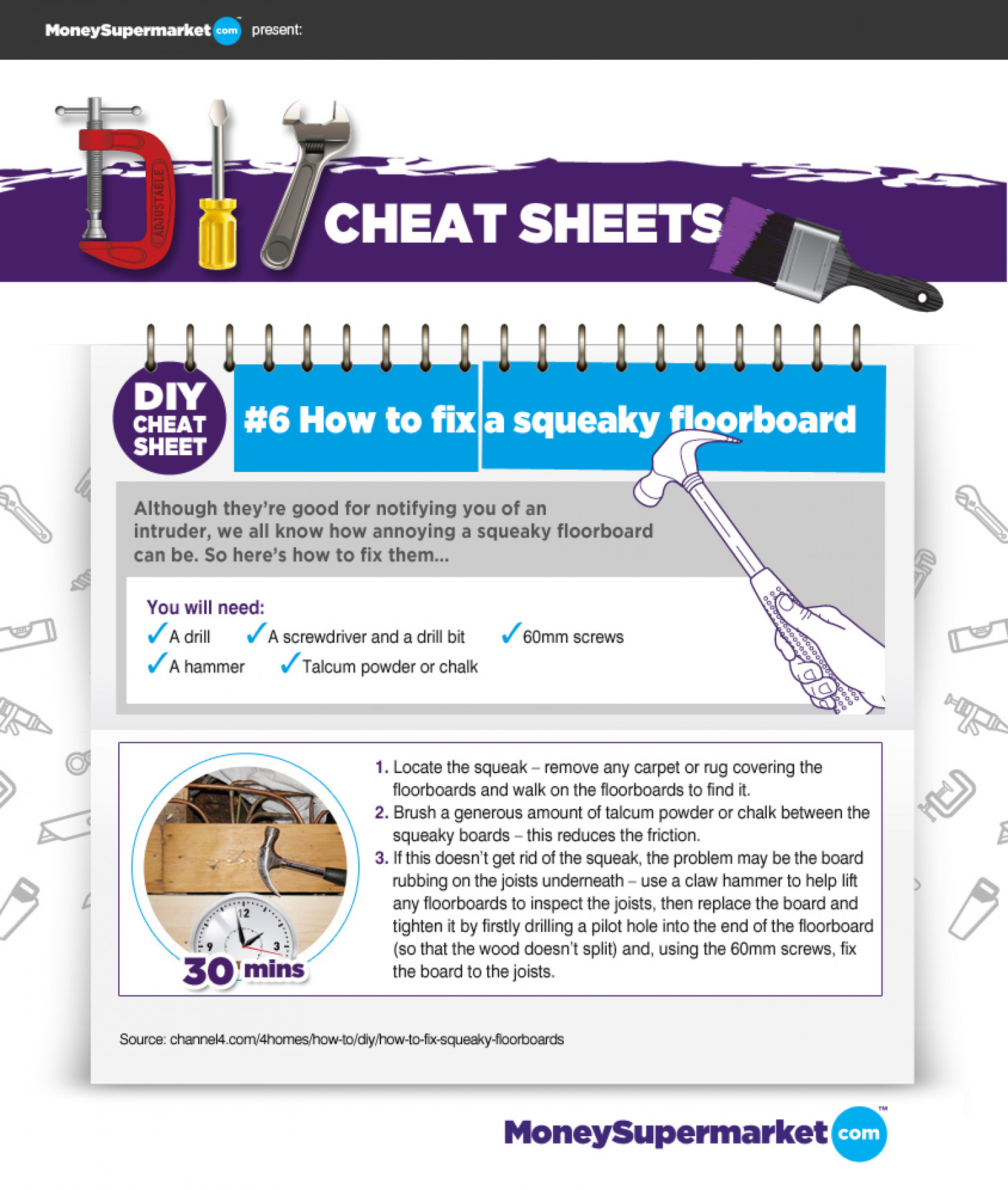 DIY Cheat Sheet - How to Fix a Squeaky Floorboard Infographic