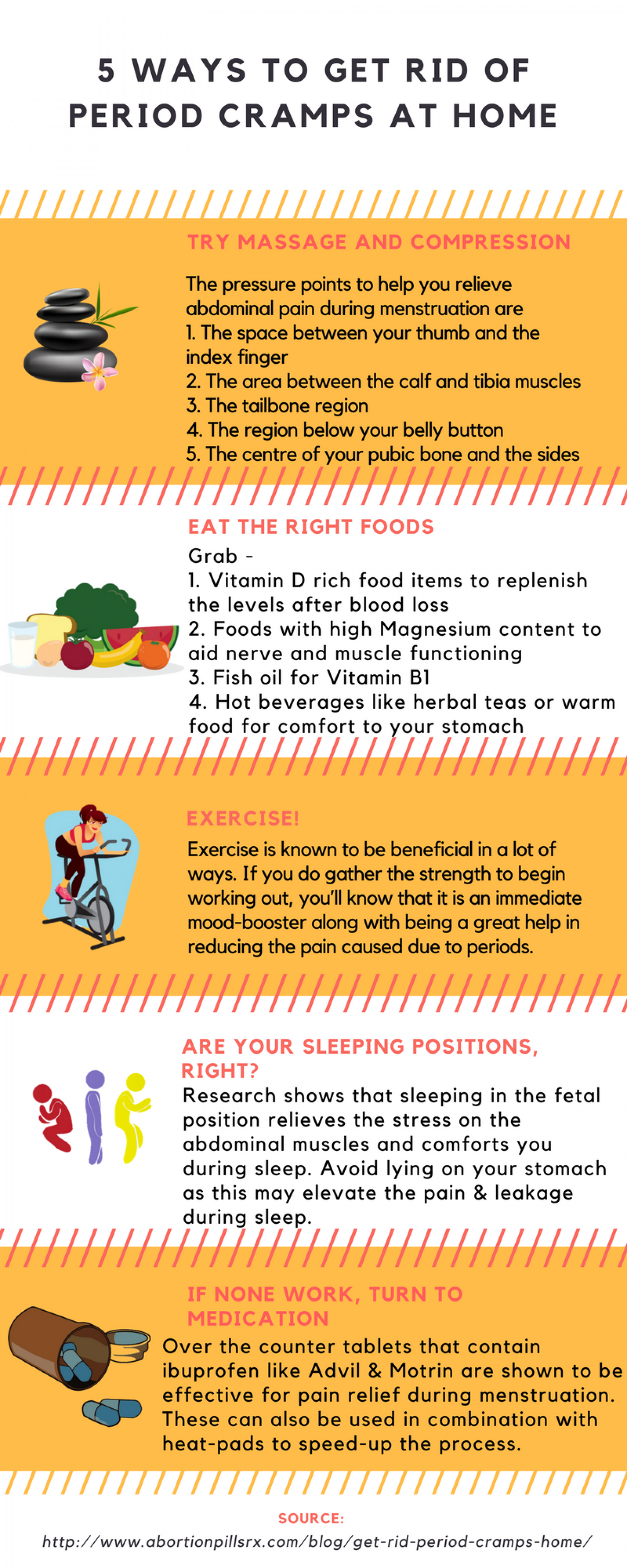 How to get rid of period cramps at home Infographic