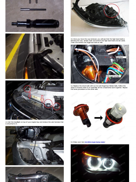 How To Install BMW E60 5 Series LED Angel Eyes Infographic