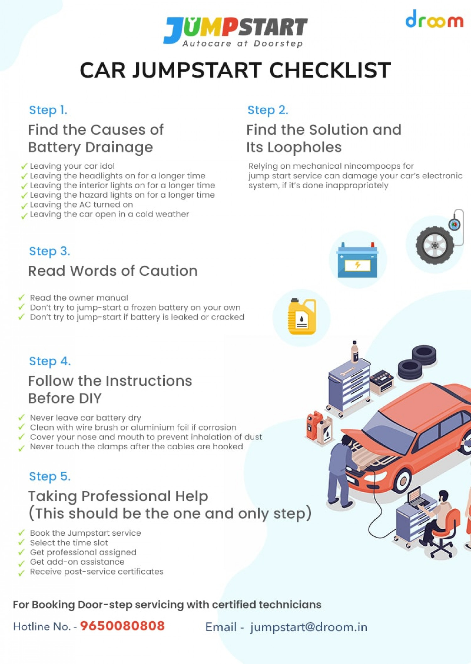How to Jump start a car? Infographic