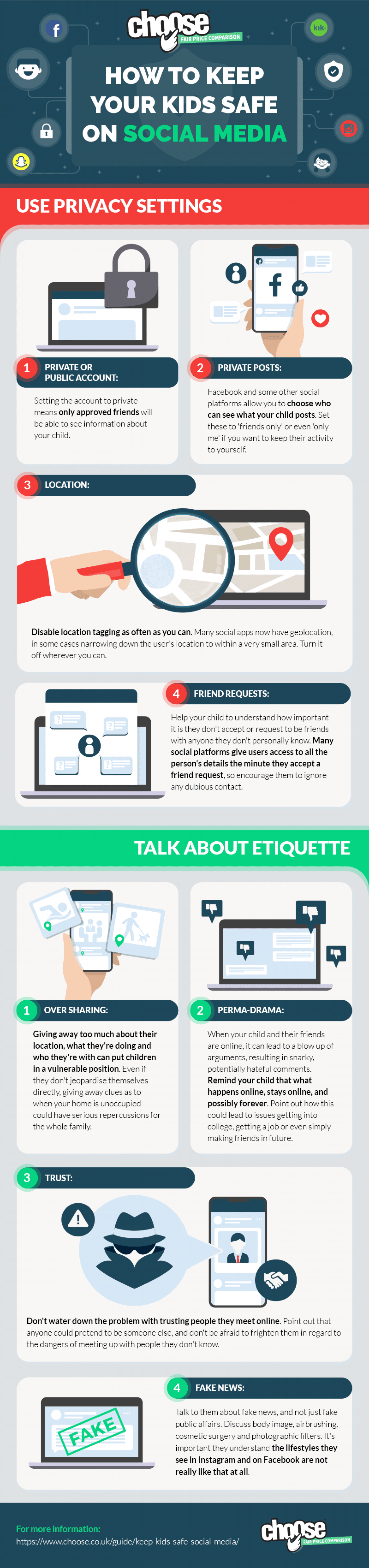 How to keep kids safe on social media Infographic