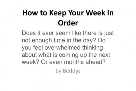 How to Keep Your Week In Order Infographic