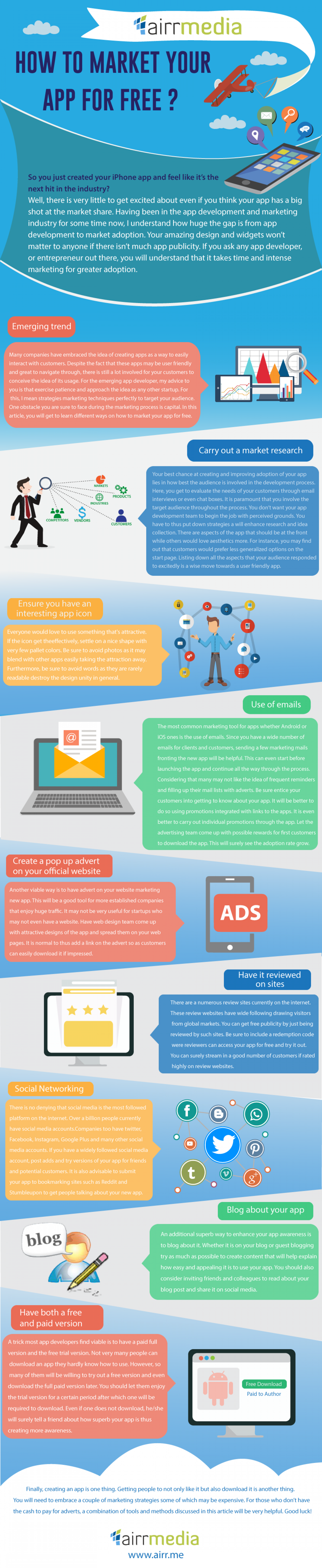 HOW TO MARKET YOUR APP FOR FREE  Infographic