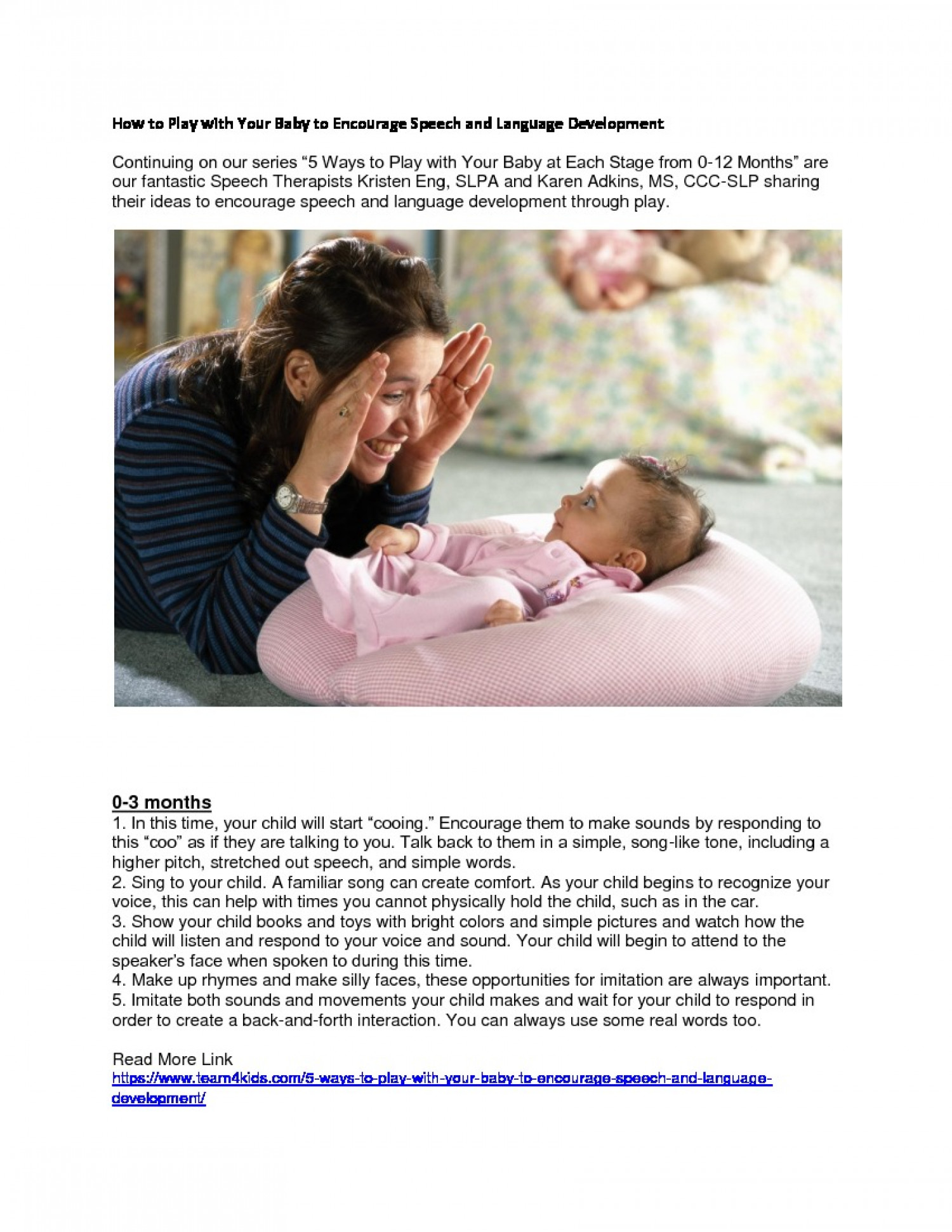 How to Play with Your Baby To Encourage Speech and Language Development Infographic