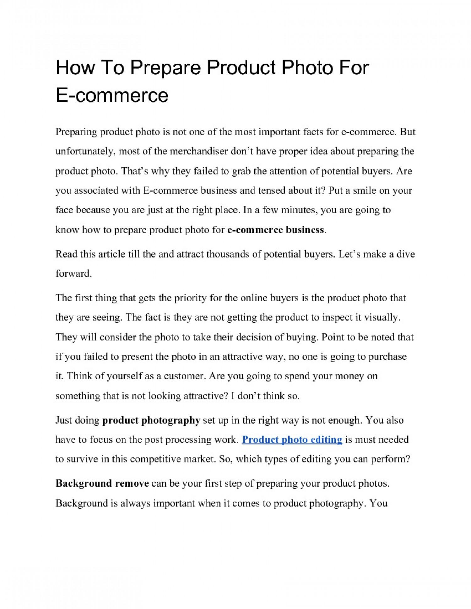 How To Prepare Product Photo Editing in Photoshop For E-commerce Infographic