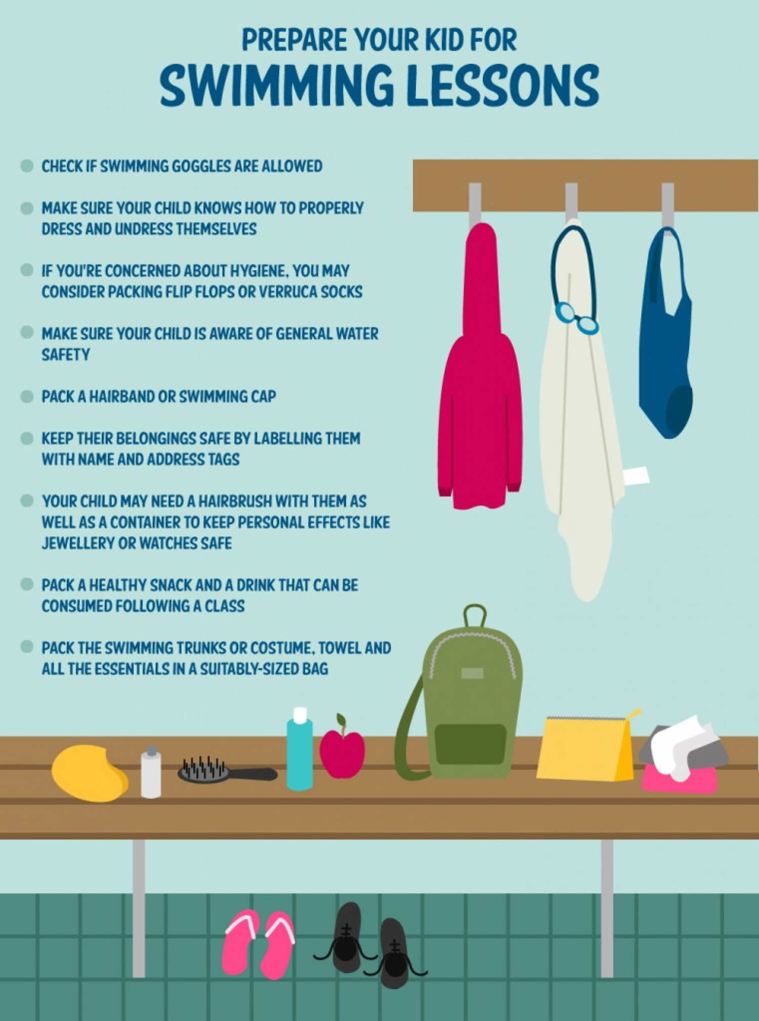 How to prepare your child for school swimming lessons Infographic