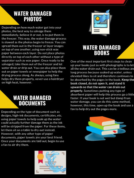 How To Save Water Damaged Photos, Books, and Documents Infographic