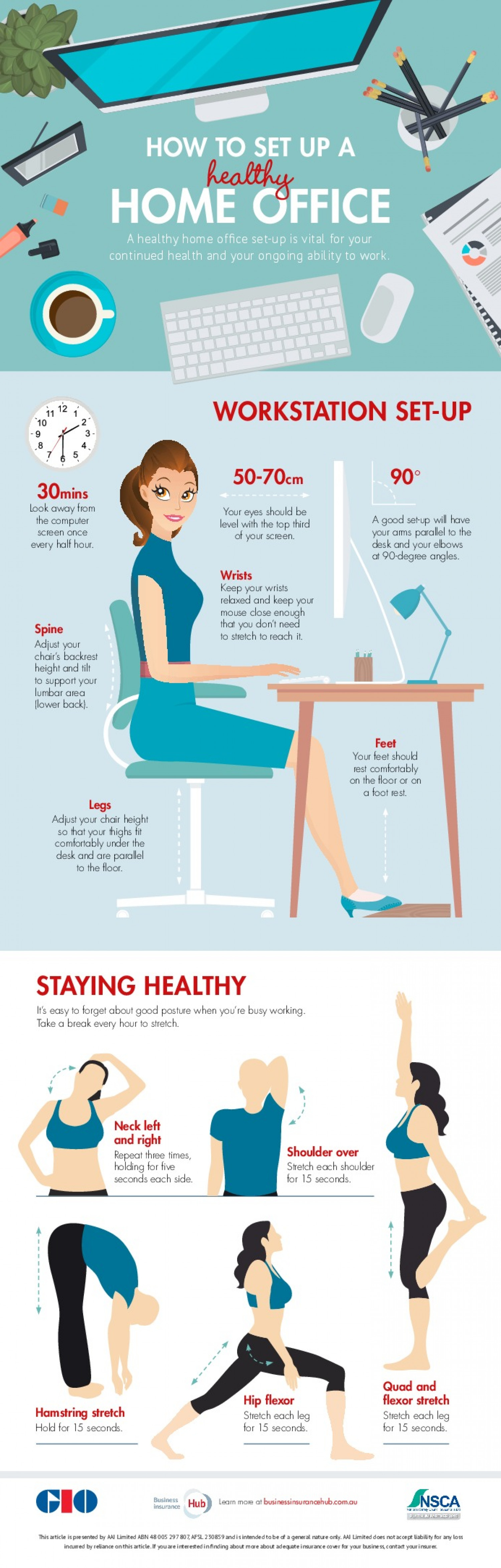 healthy home office. How To Setup A Healthy Home Office Infographic L