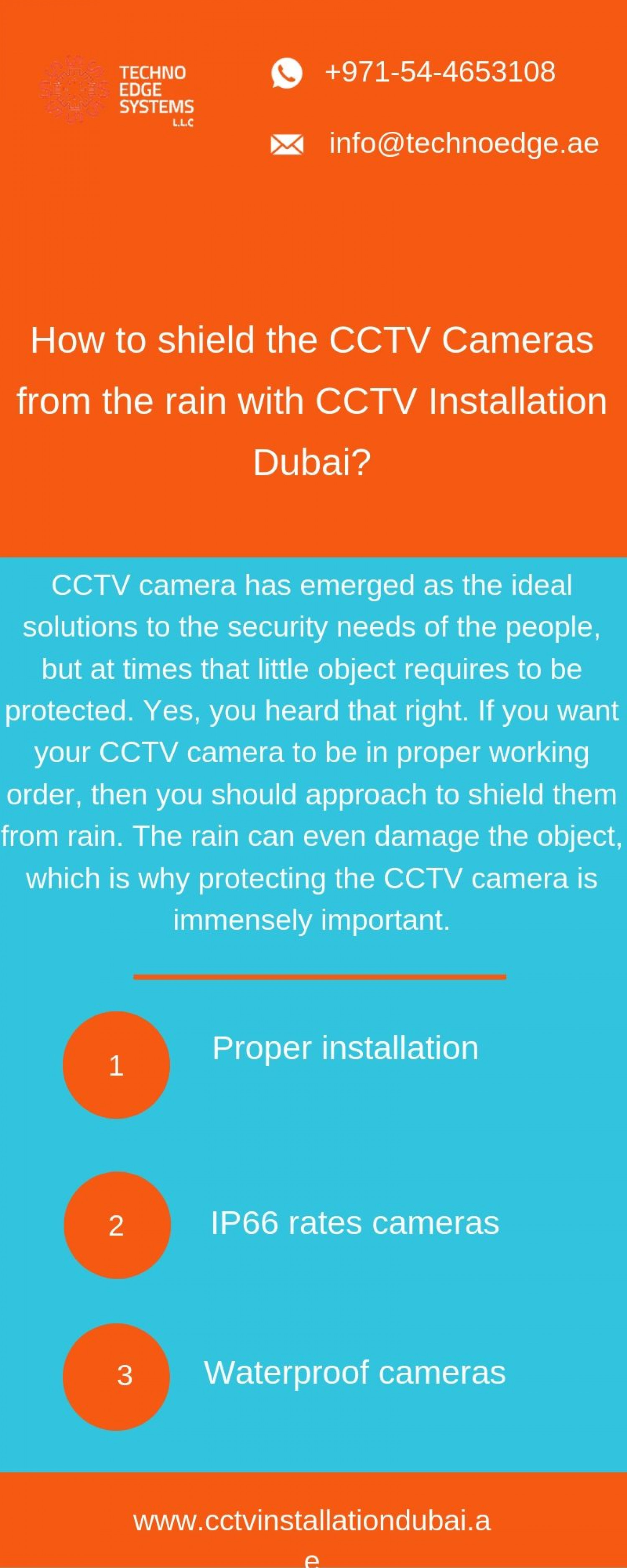 How to shield the CCTV cameras from the rain with CCTV Installation Dubai? Infographic