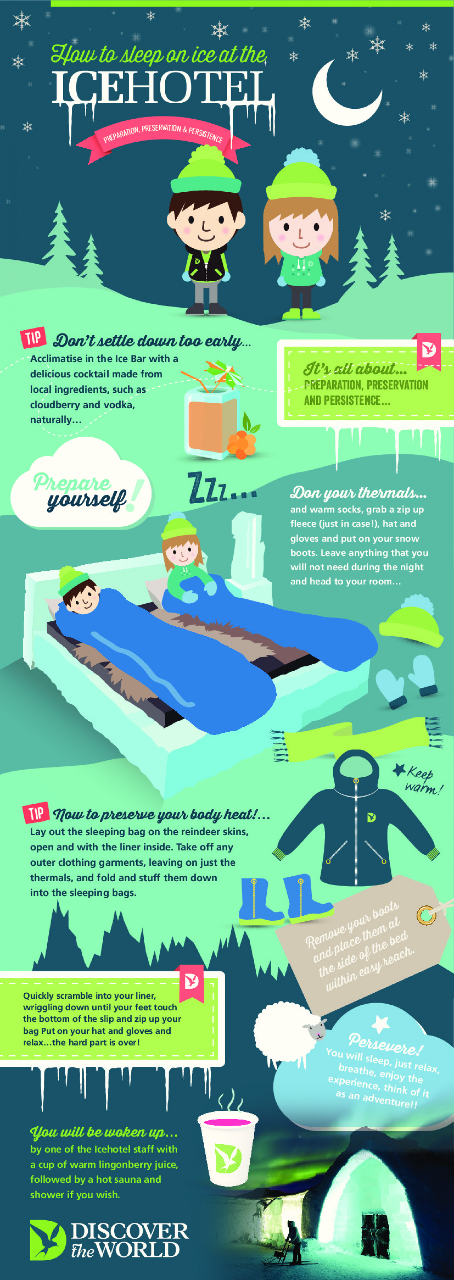 How to sleep on ice at the Ice Hotel Infographic