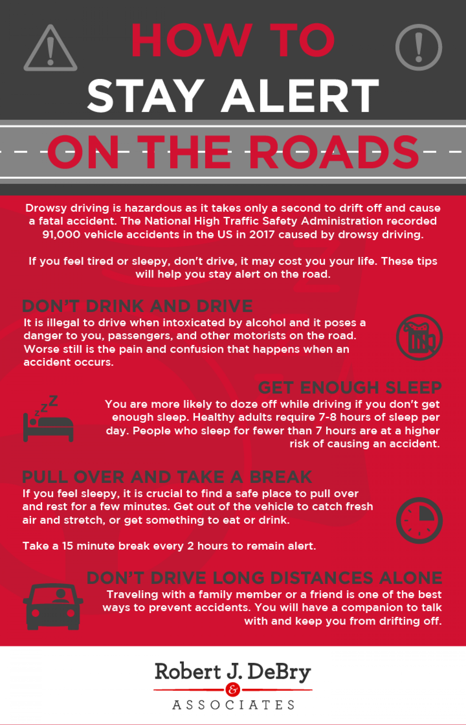 How to Stay Alert on The Roads Infographic