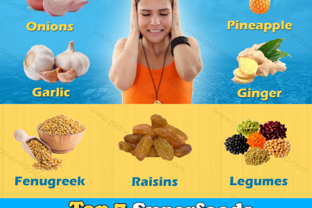 How To Stop Ringing In Ears - Top 7 Superfoods for Tinnitus Infographic