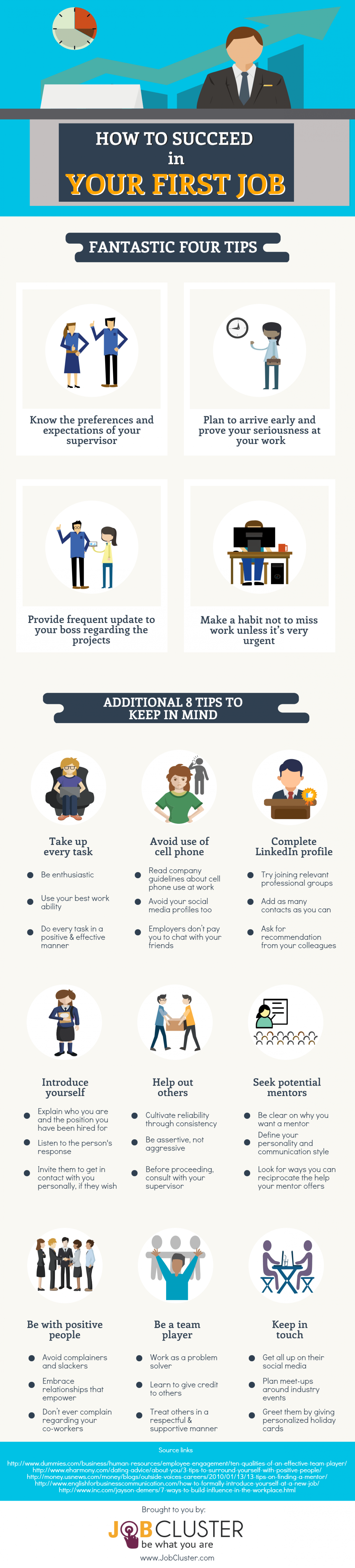 How To Succeed In Your First Job Infographic