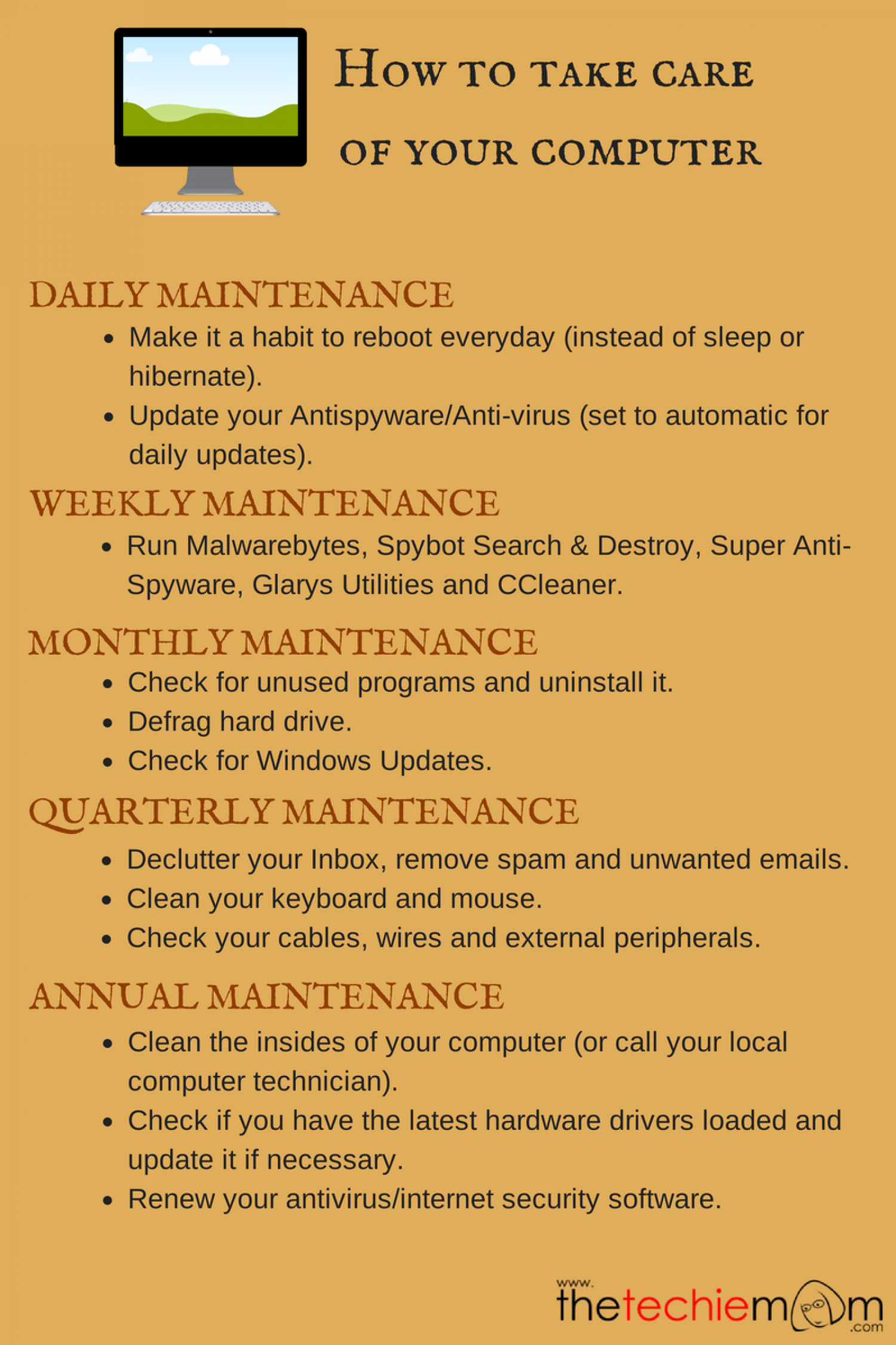 How To Take Care Of Your Computer Infographic