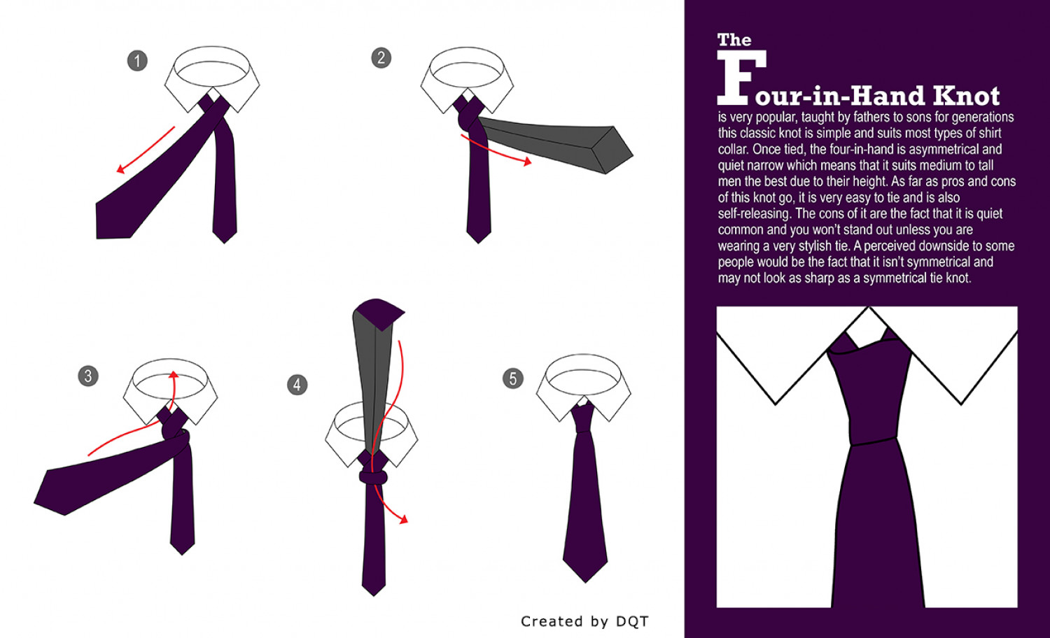 How to Tie a Four in Hand Knot | Visual.ly - photo#39