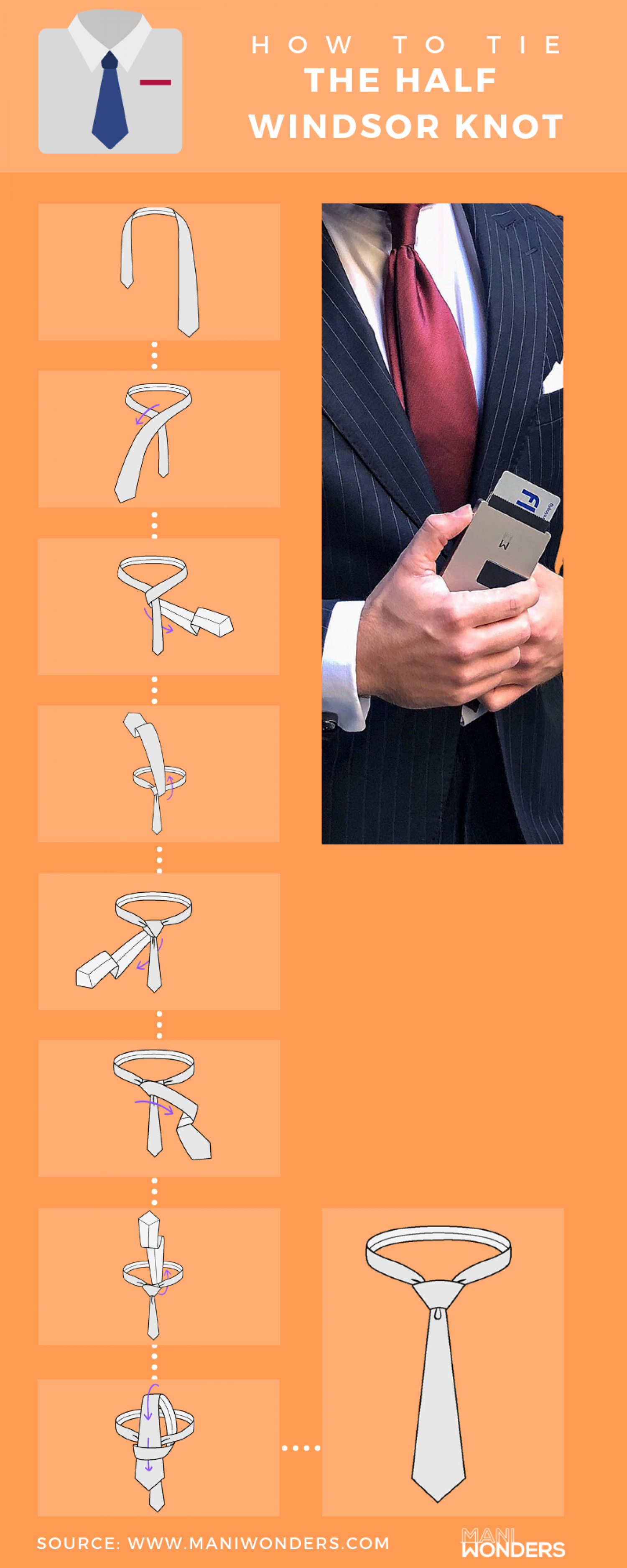 How To Tie The Half Windsor Knot Infographic