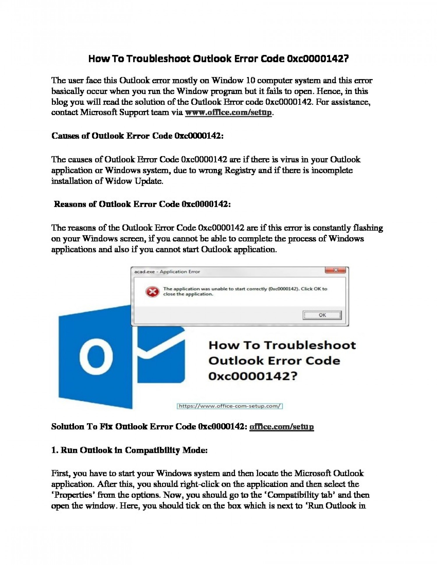 How To Troubleshoot Outlook Error Code 0xc0000142? Infographic