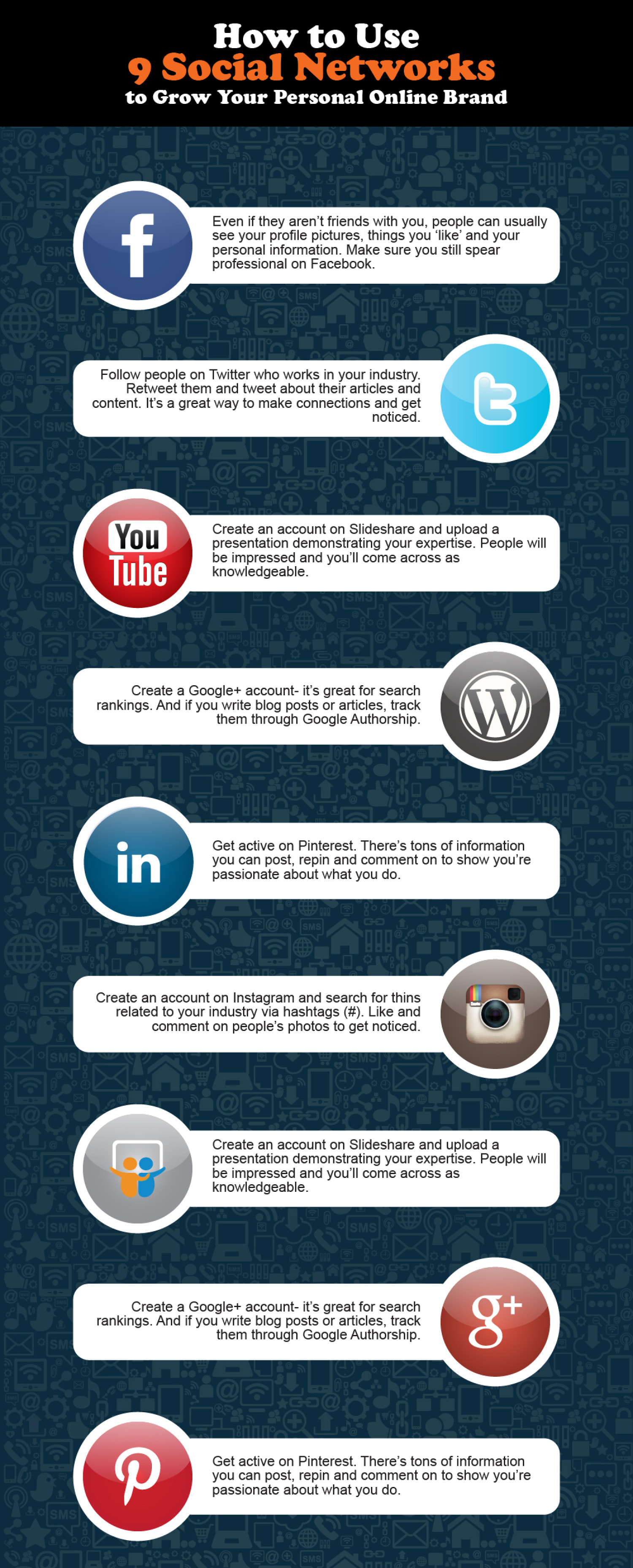 How to use 9 social networks to grow your personal online brand Infographic