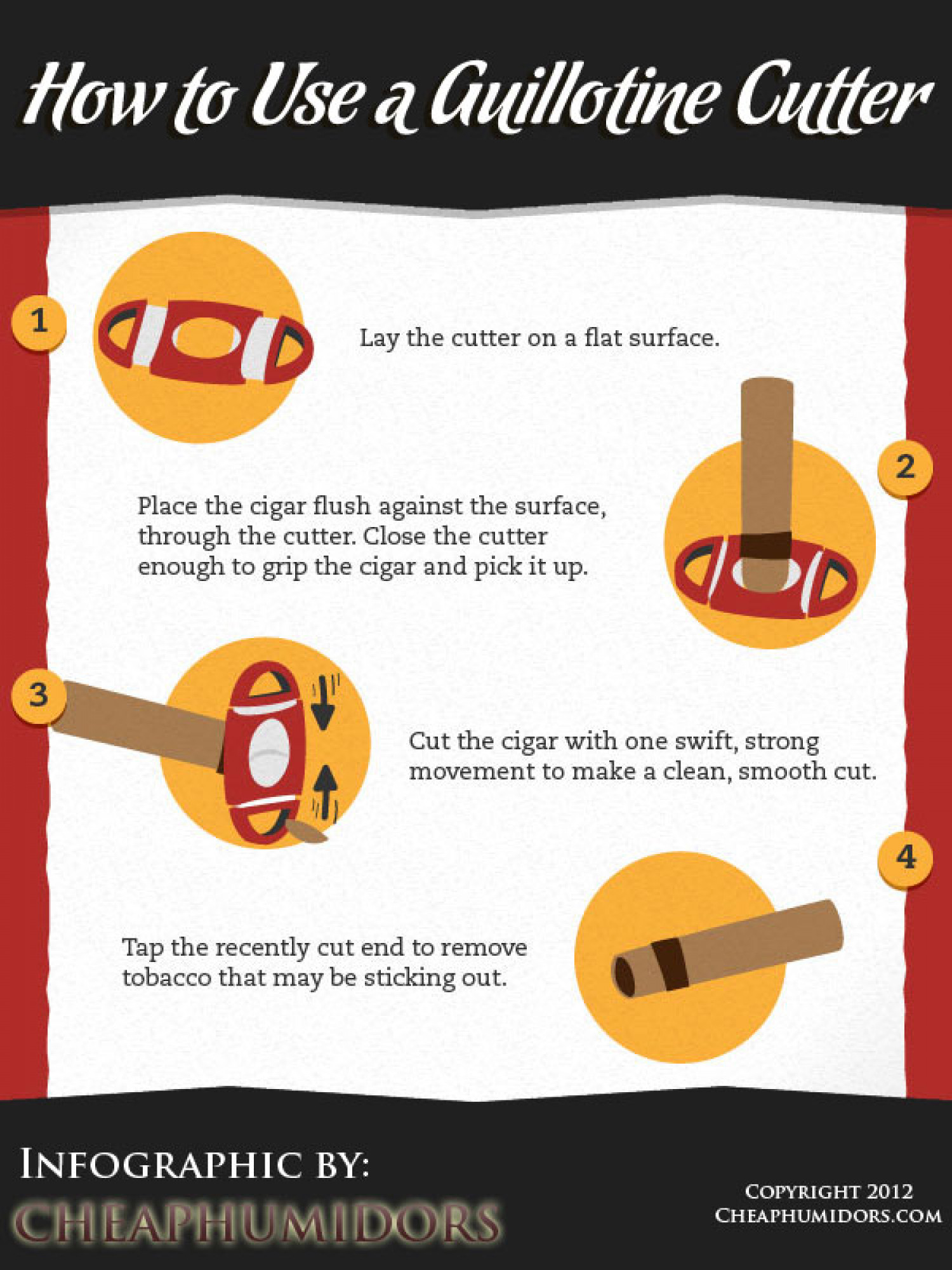 How to Use a Guillotine Cigar Cutter Infographic
