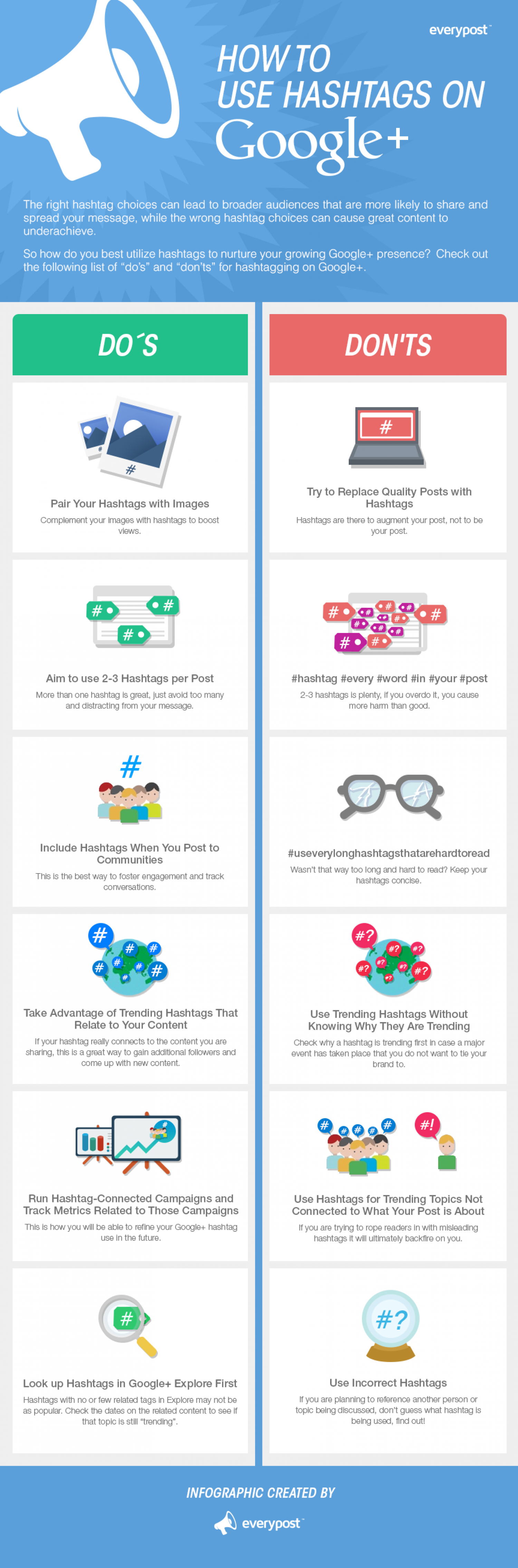 How to use Hashtags on Google+: Do's and Don'ts Infographic