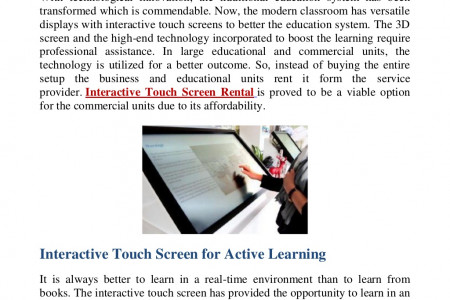 How to Use Interactive Touch Screens to Improve Education? Infographic