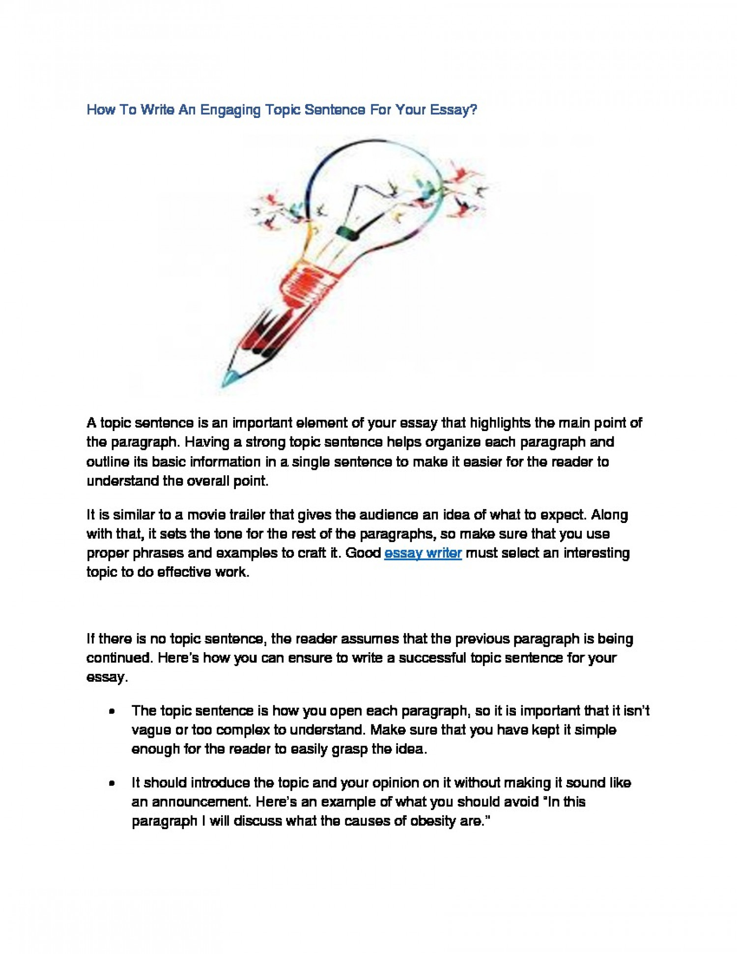How To Write An Engaging Topic Sentence For Your Essay? Infographic