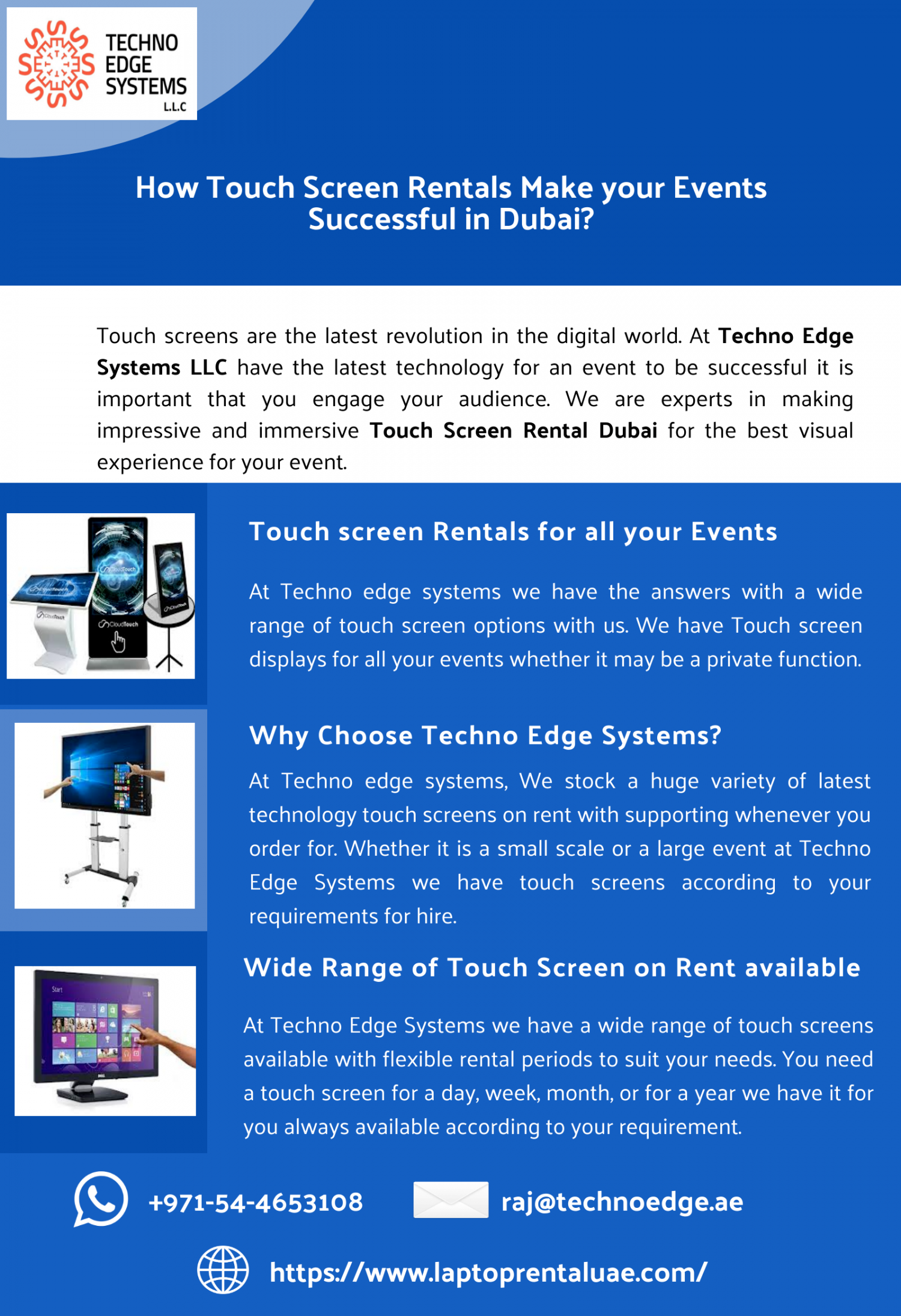 How Touch Screen Rentals Make your Events Successful in Dubai? Infographic