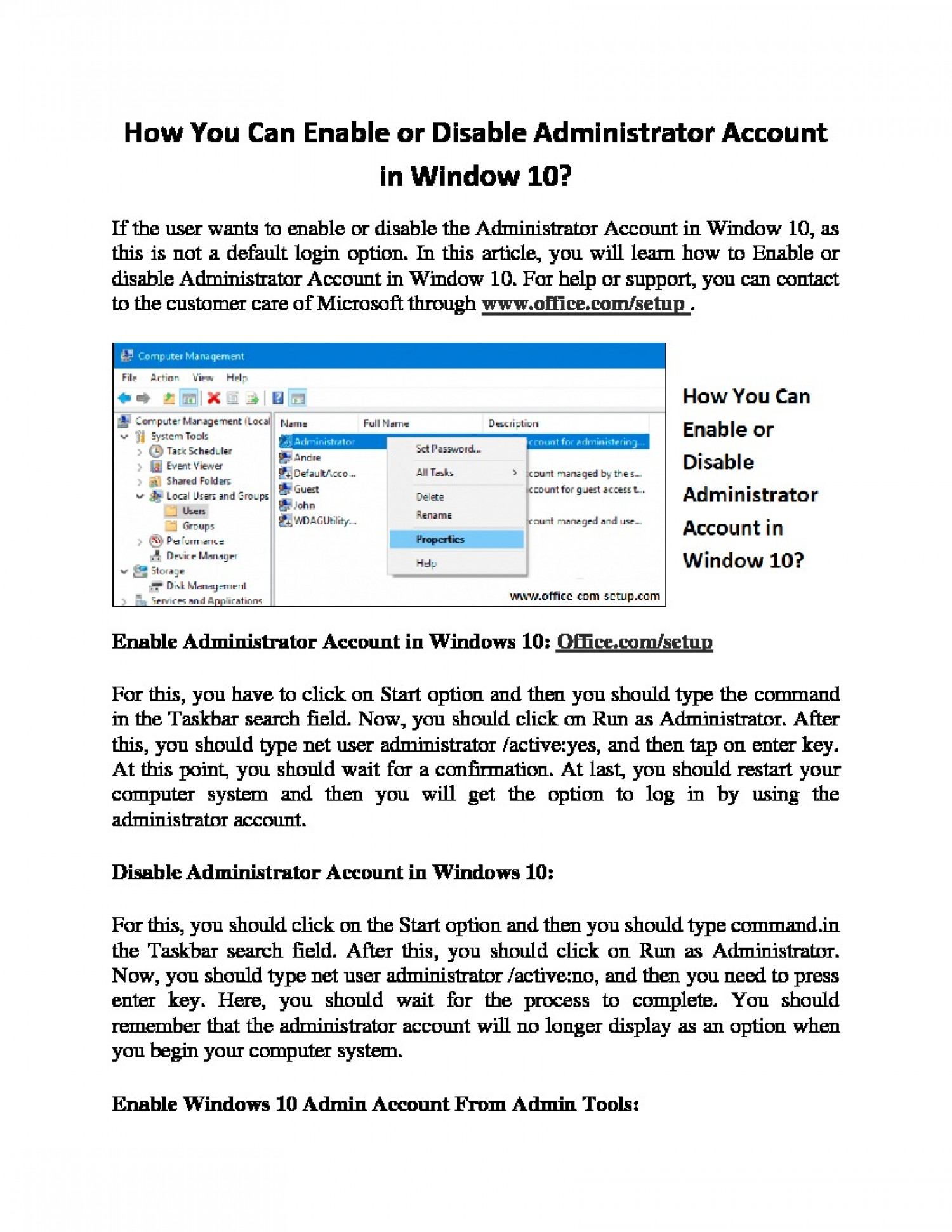 How You Can Enable or Disable Administrator Account in Window 10? Infographic